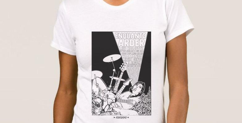 "Camiseta Feminina Baby Look ""Orgástica"" Branco"