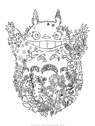 Totoro Ghibli Ausmalbild gratis / kosenlos
