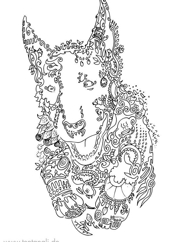 bull terrier hund ausmalbild ausmalen gr
