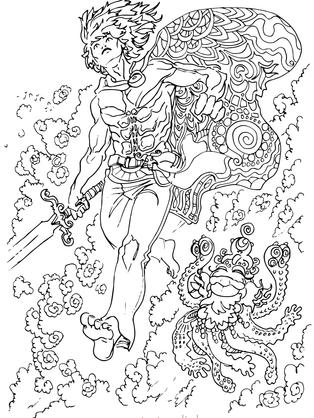 manga ritter oktopus fantasy schwert wol