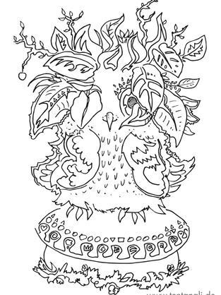 eule pflanzen pilz vogel wald ausmalbild