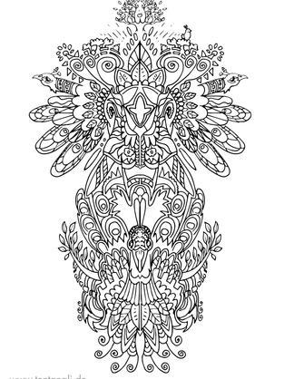 pfau elefant tattoo vorlage ausmalbild m