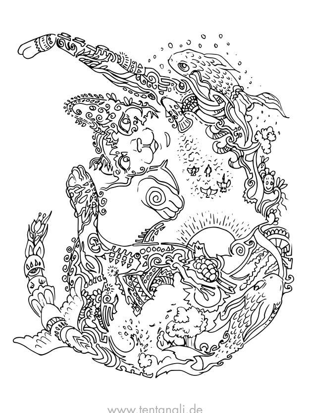katze fisch schwimmen sonne ausmalbild a