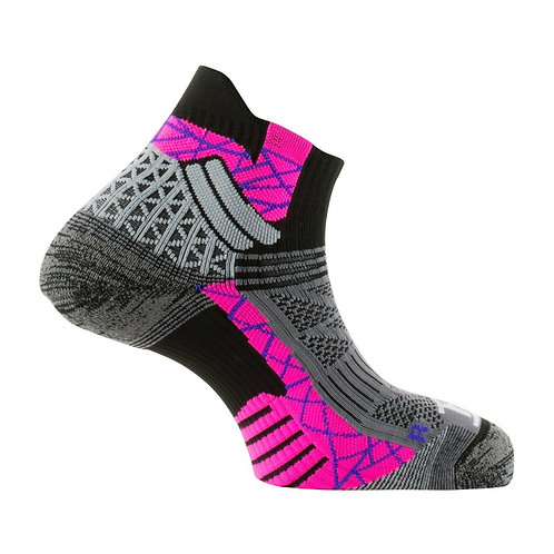 Chaussettes Thyo Trail Aero noir rose made in France