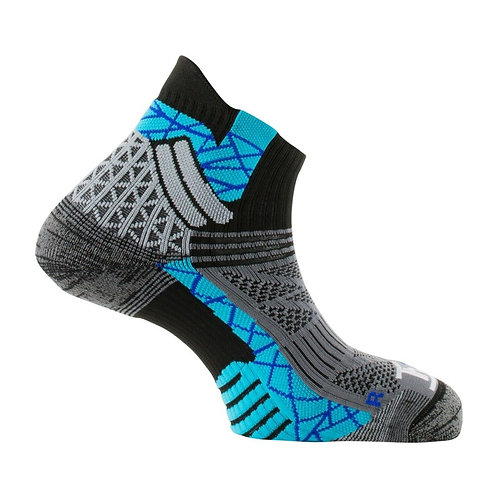 Chaussettes Thyo Trail Aero noir turquoise made in France