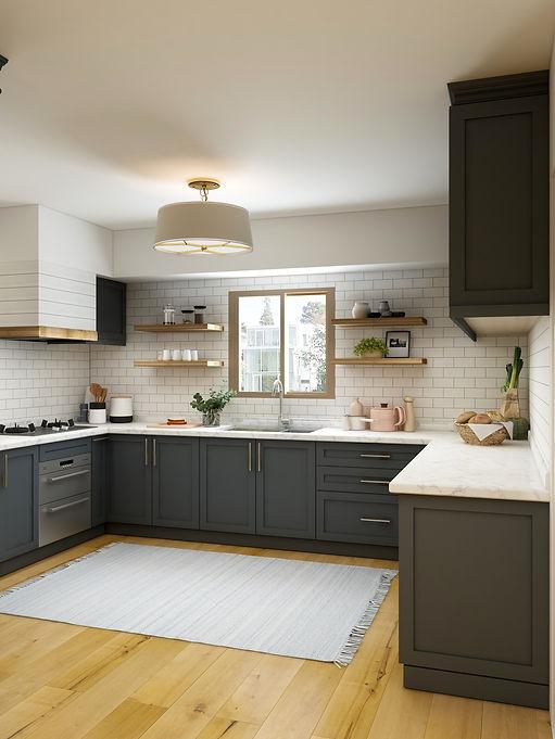 Farmhouse kitchen with subway tile backsplash