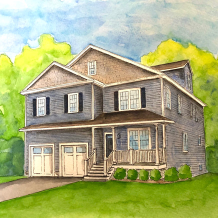 Painting of Forest Street home with two car garage