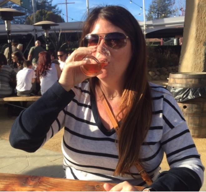 Kate enjoying a beer