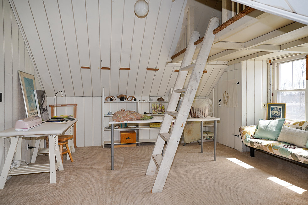 Office with ladder to loft