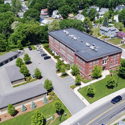 Franklin School drone photo of entire building