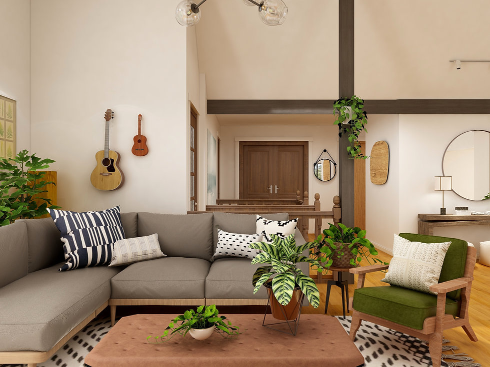 cozy living room with lots of plants