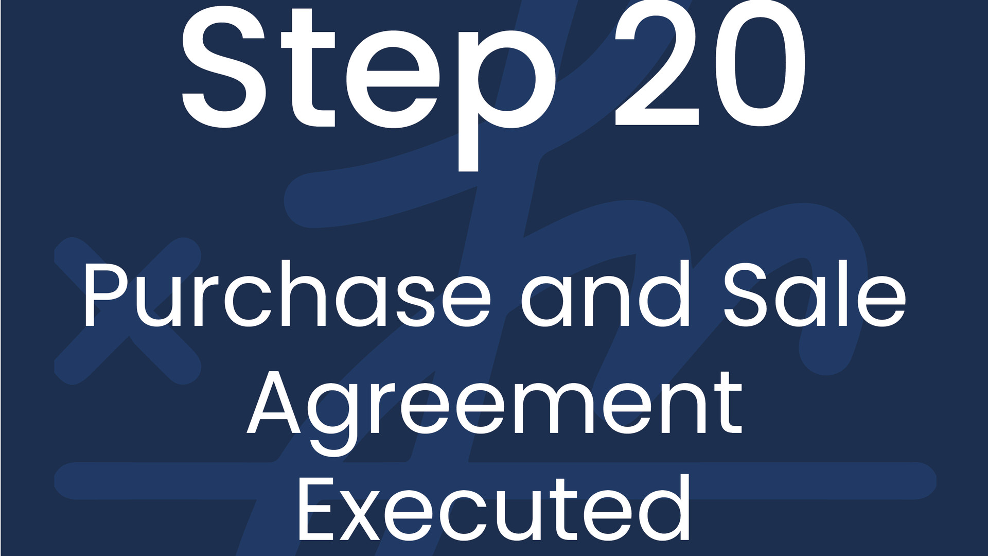 Step 20: Purchase and Sale Agreement Executed