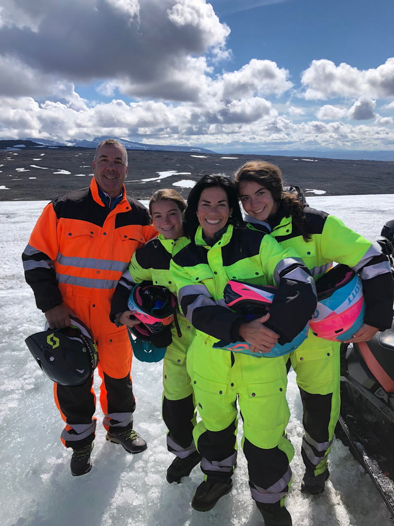 Dana and her family, snowmobiling
