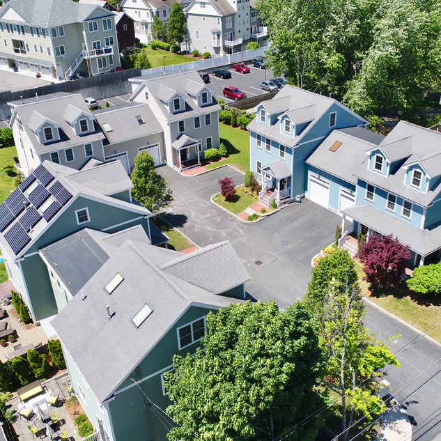 30 White drone photo of homes