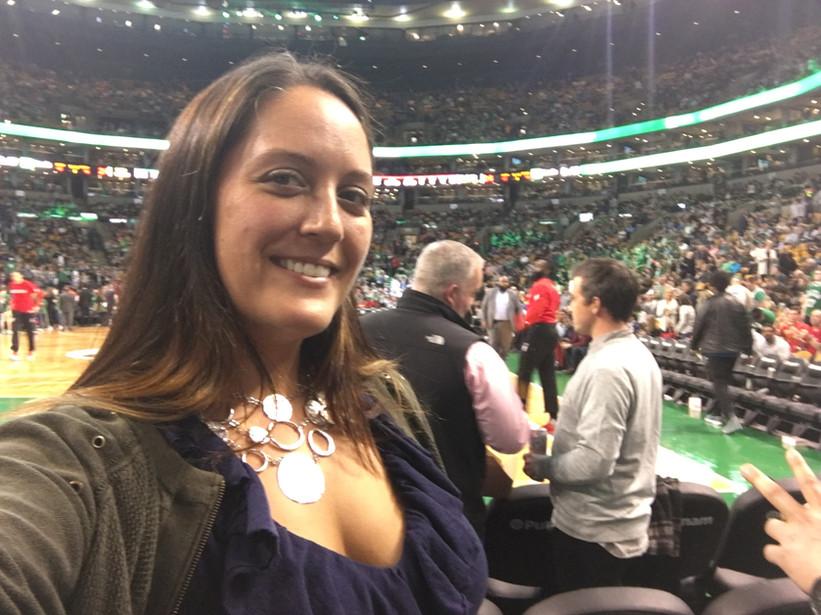 Teri at the Celtics game