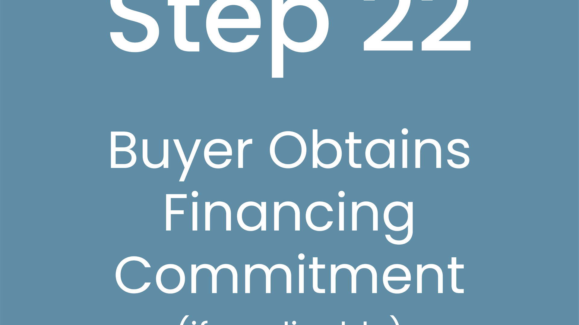 Step 22: Buyer Optains Financing Commitment (if applicable)