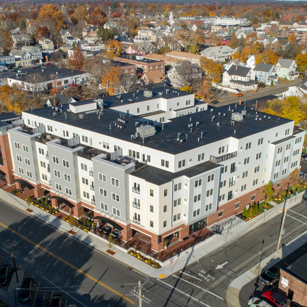 Wakefield Station drone photo above of neighborhood