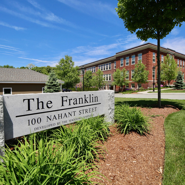Franklin School sign with building behind