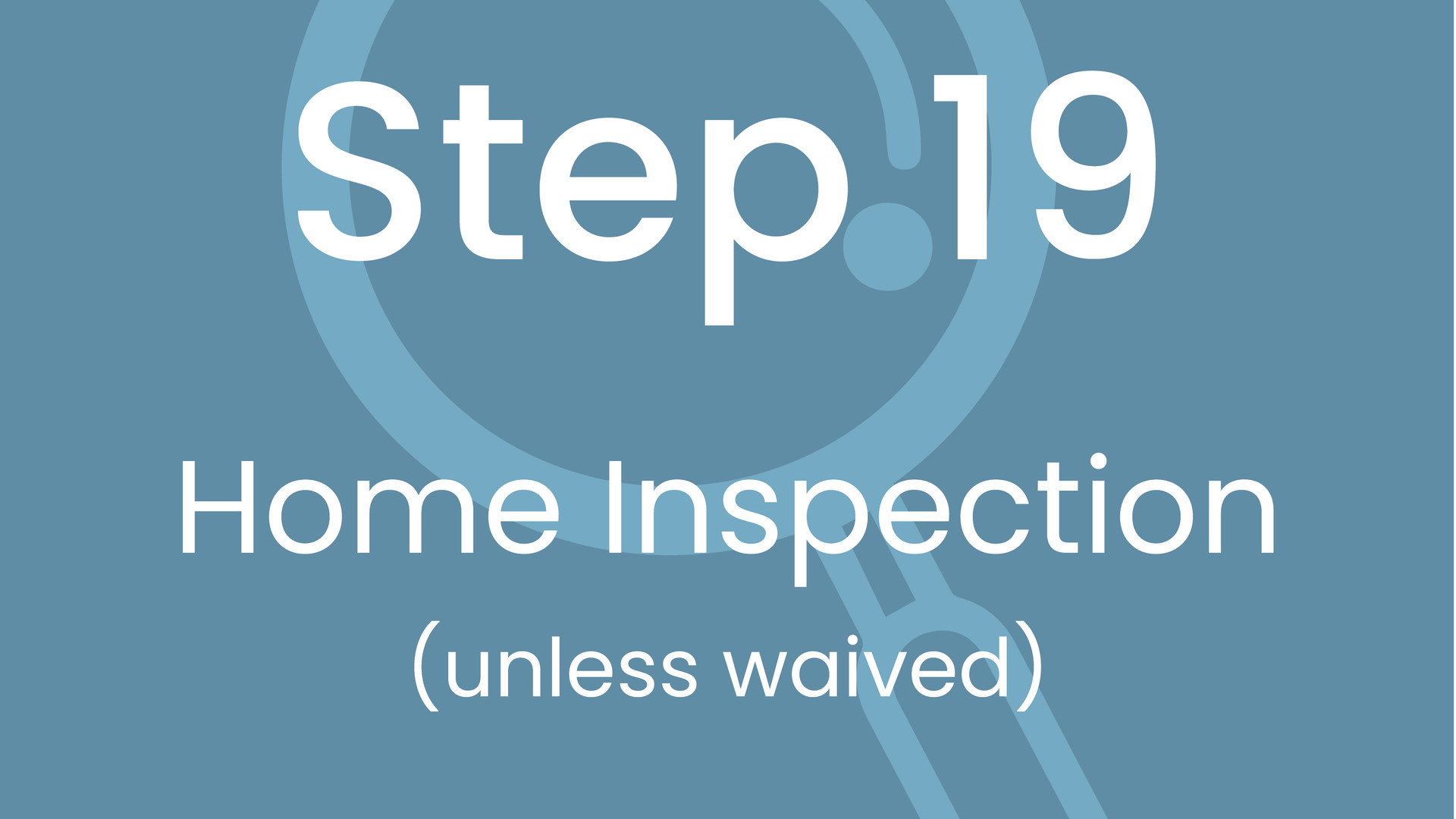 Step 19: Home Inspection (unless waived)
