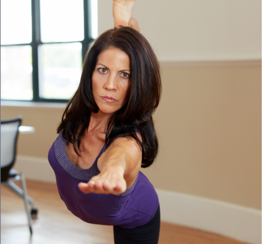 Mary practicing yoga
