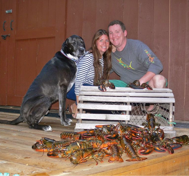 Kate, her husband, their dog and lobsters