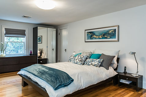 master bedroom blue accents