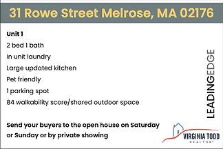 31 Rowe Unit Open House card