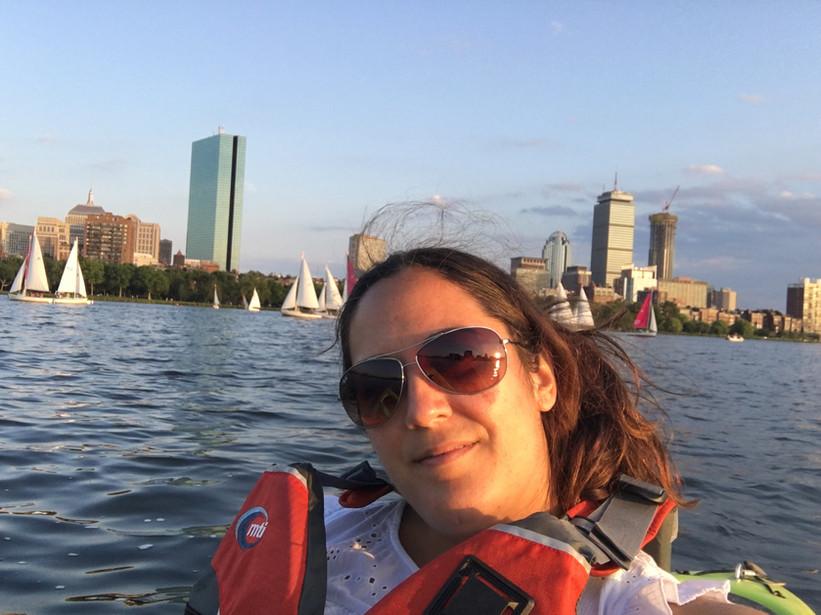 Teri kayaking on the Charles River