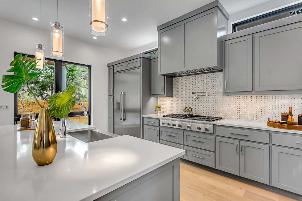 Luxury kitchen with grey cabinets