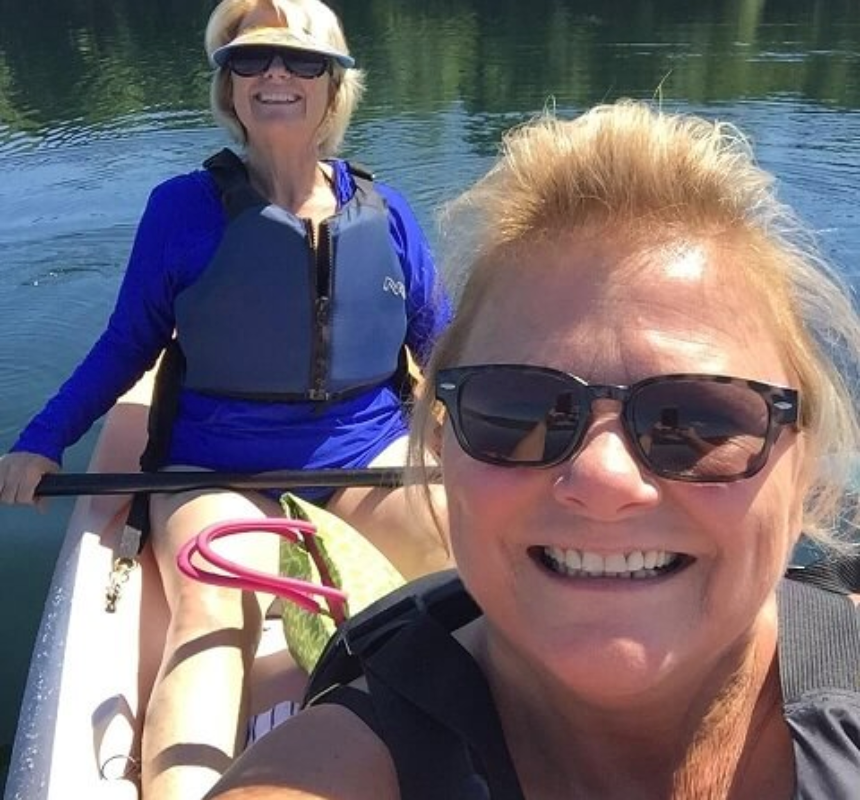 Patti and her friend, kyaking
