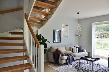 Living Room with staircase