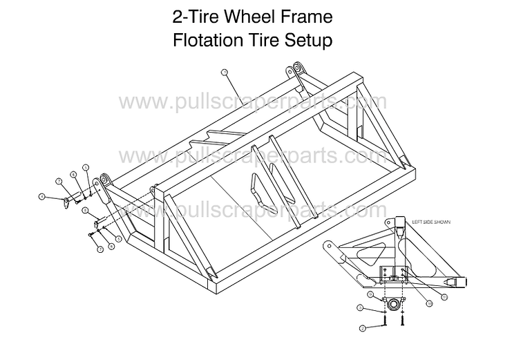 2-Tire Wheel Frame Flotation Tire Setup.