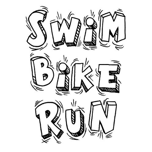 SWIM BIKE RUN CARTOON