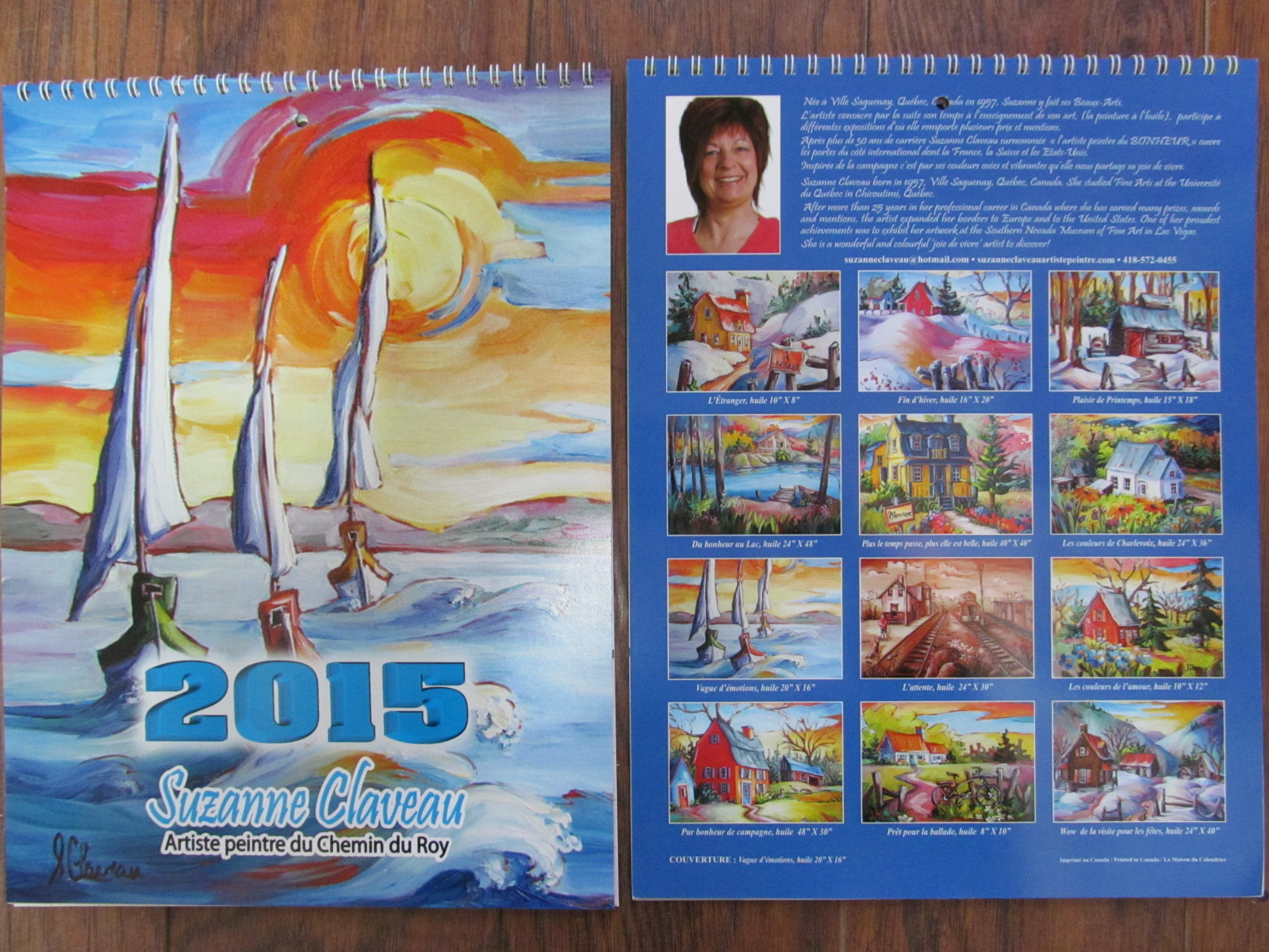 Calendrier 2015 avec 12 tableux de S. Claveau $10.JPG