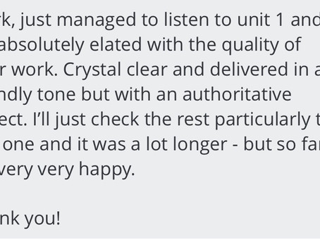 Feedback: My clients are lovely!