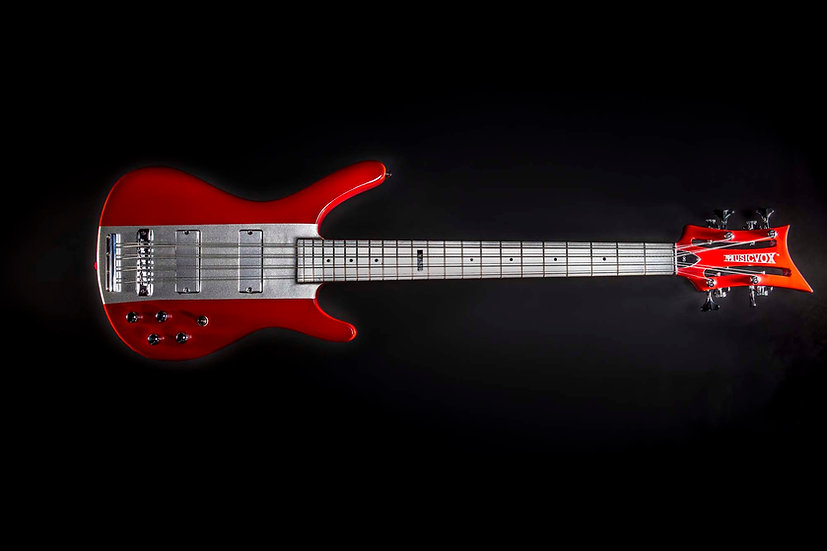 Red and Silver Reverse MI-5 Momo 8 String Bass