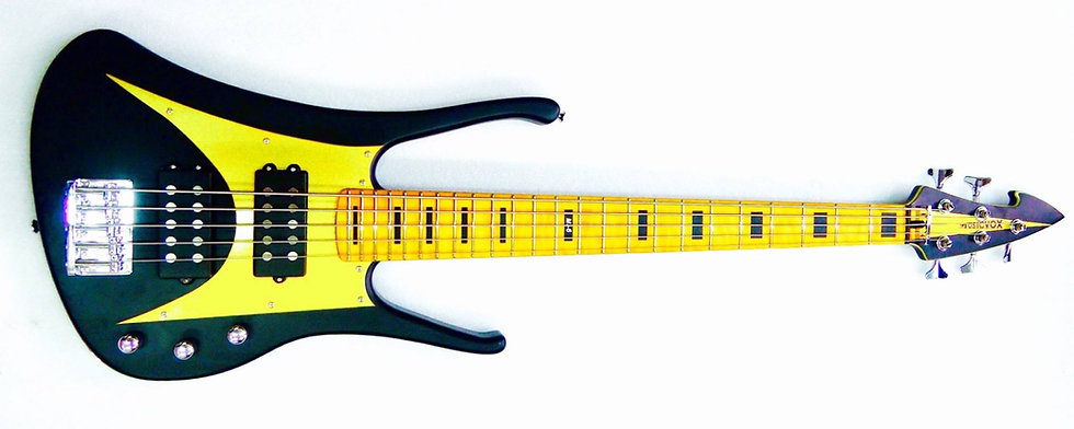 "Black and Gold MI-6 34"" 5 String Custom Bass"