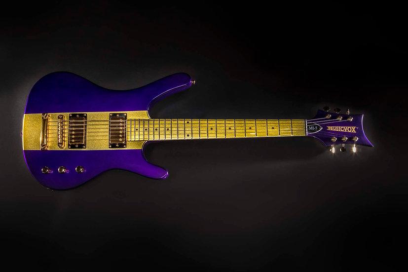 Purple and Gold Metallic Reverse MI-5 Guitar