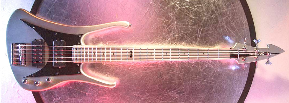"Silver Silk Metallic MI-6 34"" 5 String Custom Bass"