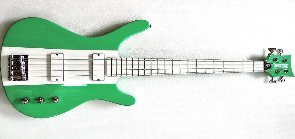 "Two Tone Seafoam Green and White Reverse MI-5 34"" Custom Bass"
