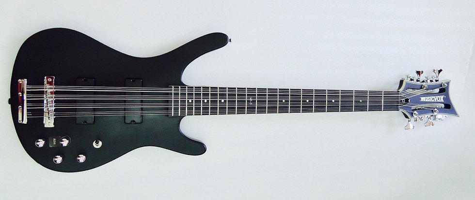 Matte Black Reverse MI-5 12 String Bass