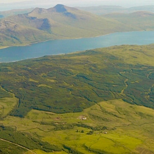 Crannich aerial photo with Ben More and Loch Na Keal