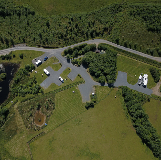 Aerial view of campsite shows spacing between pitches and the layout of the campsite