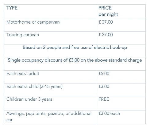 Crannich campsite tariff