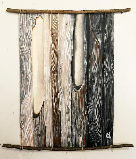 """Wood Panel #12 Grey"" - Original Painting"