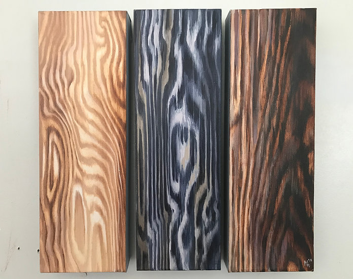 """Wood Panel #7 Triptych"" - Original Painting"