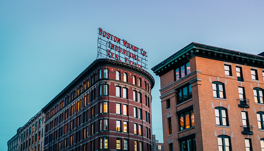 The famous Boston Wharf Co. sign