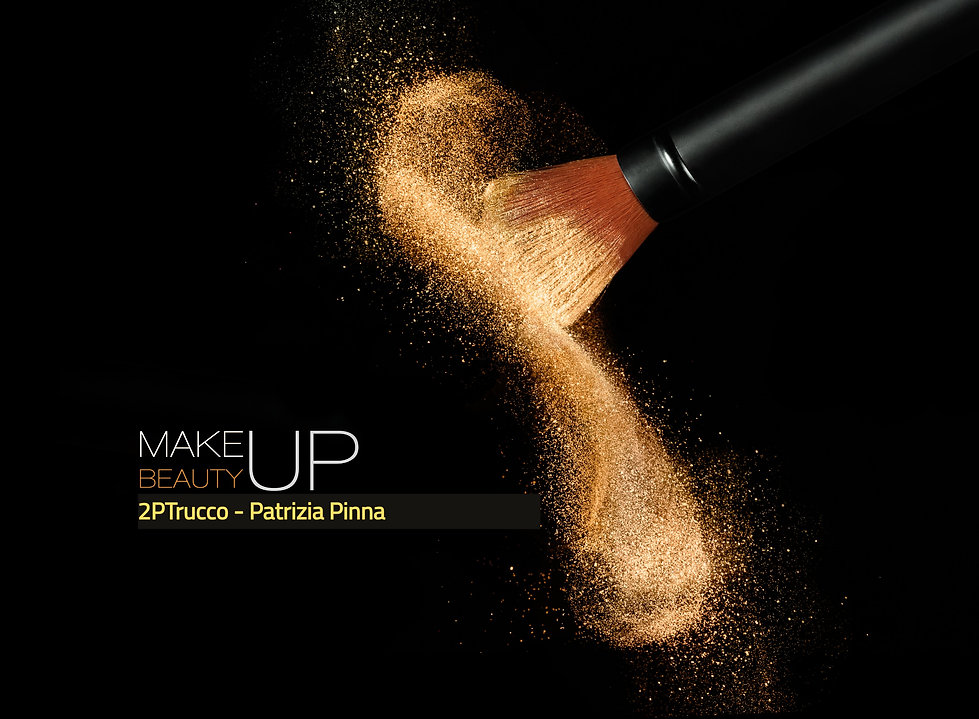 Soft cosmetics brush releasing a cloud of glowing sparkling face powder over a black backg