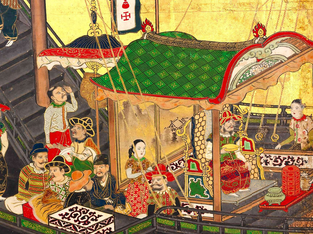 nanban byobu-paravent-arrivee marchands-