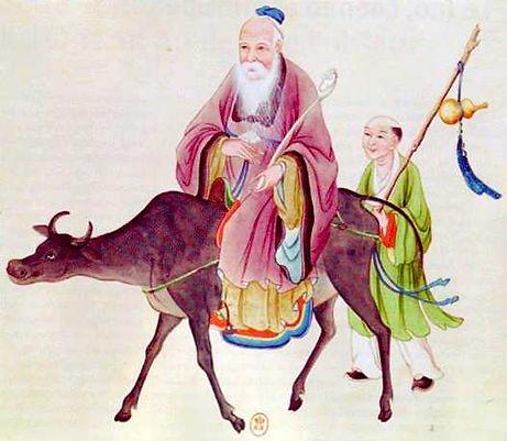 lao-tseu quiite la chine sur un buffle-ecole chinois XVIIIes-pm.jpg